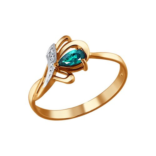 Кольцо бутон из золота c бриллиантами и изумрудом