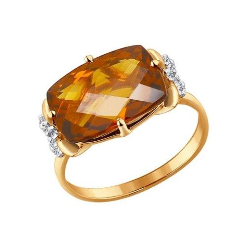 Кольцо из золота с красным кварцем и фианитами