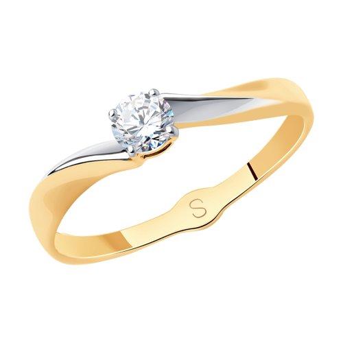 Кольцо из золота с фианитом (017913) - фото
