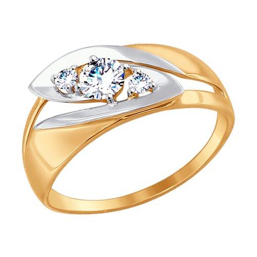 Кольцо из золота с фианитами (017464) - фото