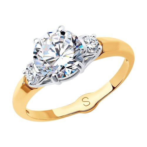Кольцо из золота с фианитами (017972) - фото