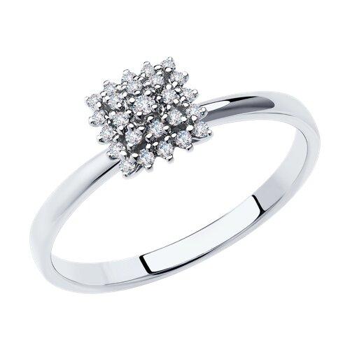 Кольцо из белого золота с бриллиантами (1012016) - фото