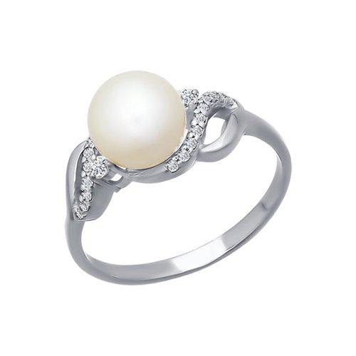 Кольцо из белого золота с жемчугом и фианитами
