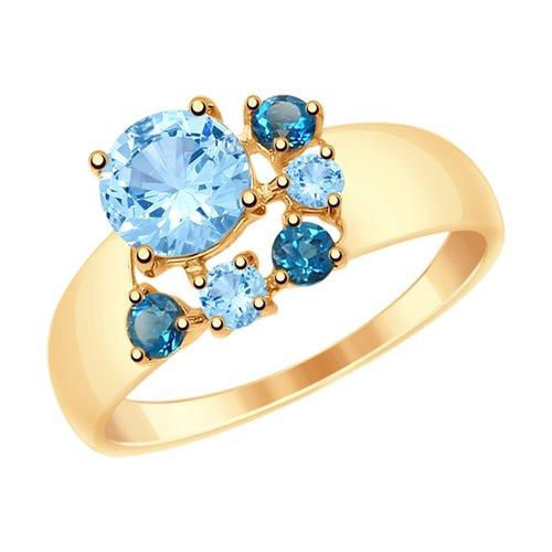 Кольцо из золота с голубыми и синими топазами (715004) - фото