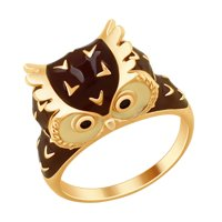 Кольцо «Сова» с эмалью и фианитами