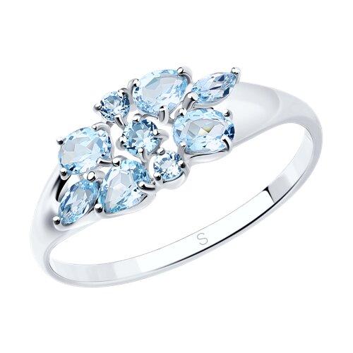 Кольцо из серебра с топазами (92011103) - фото