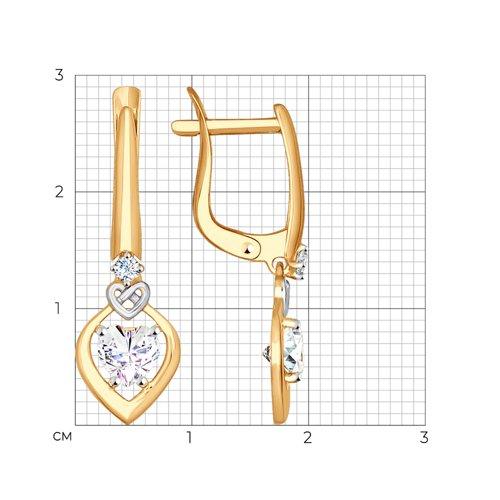 Серьги из золота с фианитами (027621) - фото №2