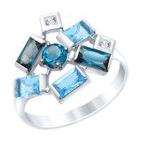 Кольцо из белого золота с голубыми и синими топазами и Swarovski Zirconia
