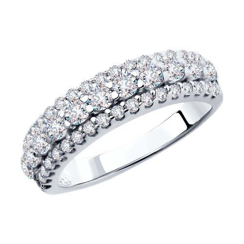 Кольцо из серебра с фианитами (94011270) - фото