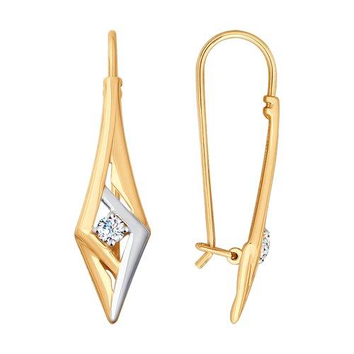 Серьги из золота с фианитами (028036) - фото