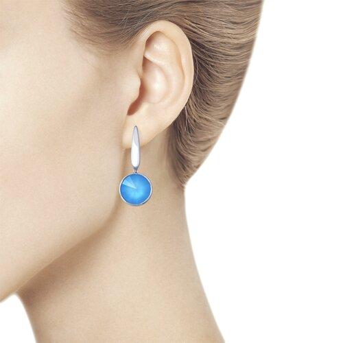 Серьги из серебра с голубыми кристаллами Swarovski (94022879) - фото №2