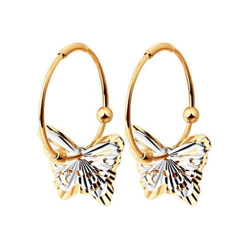 Серьги конго с бабочками