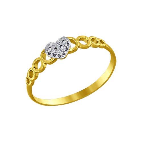 Кольцо love SOKOLOV из жёлтого золота с фианитами кольцо sokolov из золота love you