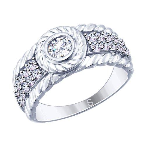 Кольцо из серебра с фианитами (94012655) - фото