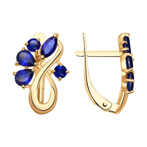 Серьги из золота с синими корундами (синт.) (37724753) - фото