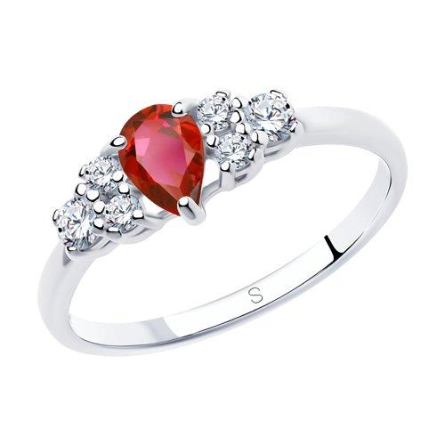 Кольцо из серебра с красным фианитом