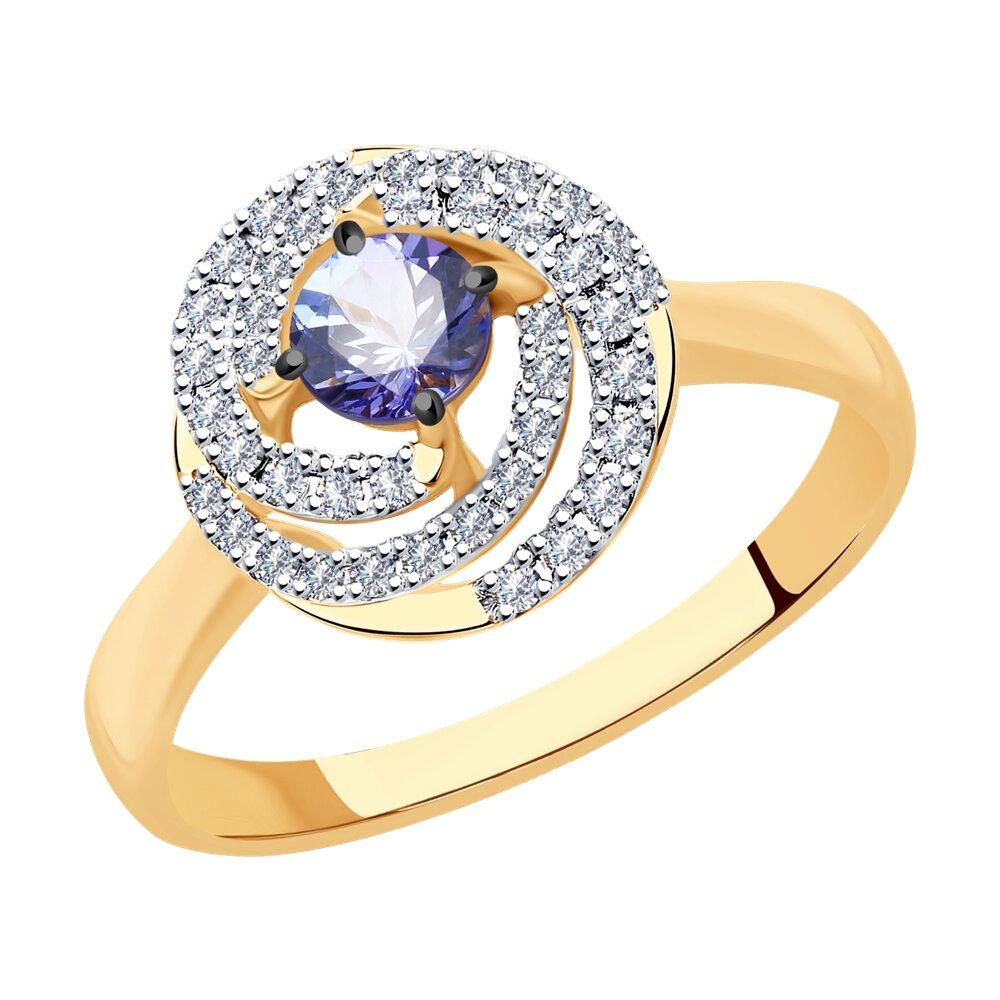 Кольцо SOKOLOV из золота с бриллиантами и танзанитом фото