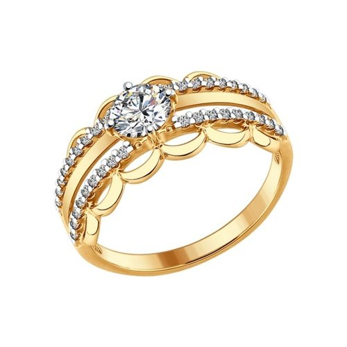 Кольцо из золочёного серебра с фианитами (93010633) - фото