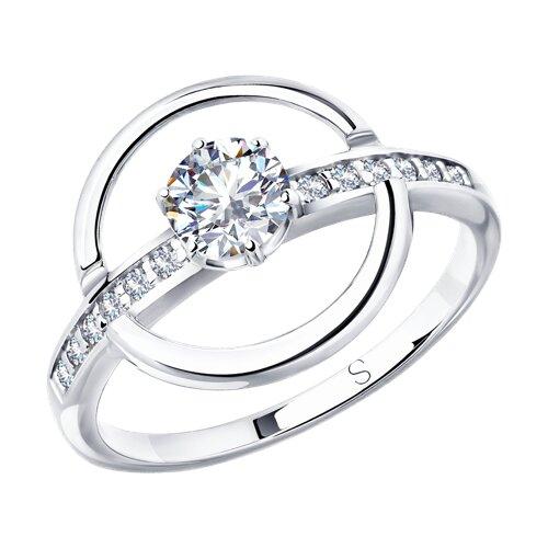 Кольцо из серебра с фианитами (94012941) - фото