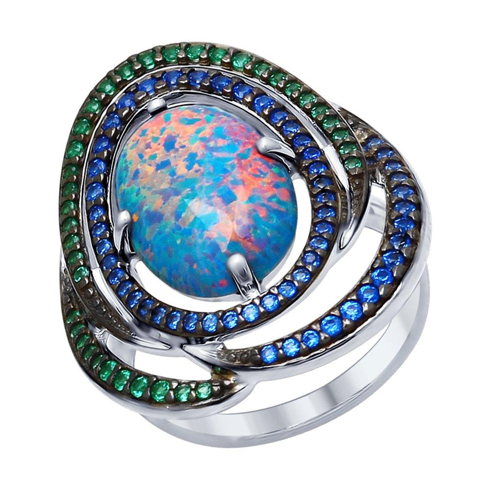 Фото - Кольцо SOKOLOV из серебра с синим опалом и зелеными и синими фианитами кольцо sokolov из желтого золота с синими корунд синт синим опалом и зелеными и синими фианитами