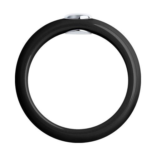 Кольцо из чёрной керамики с белым золотом и бриллиантом (6015032) - фото №2