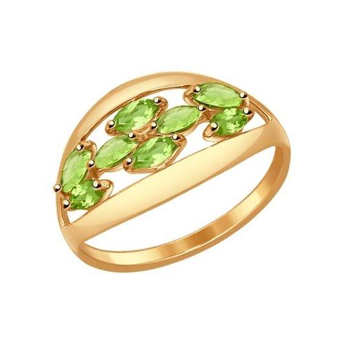 Кольцо из золота с хризолитами