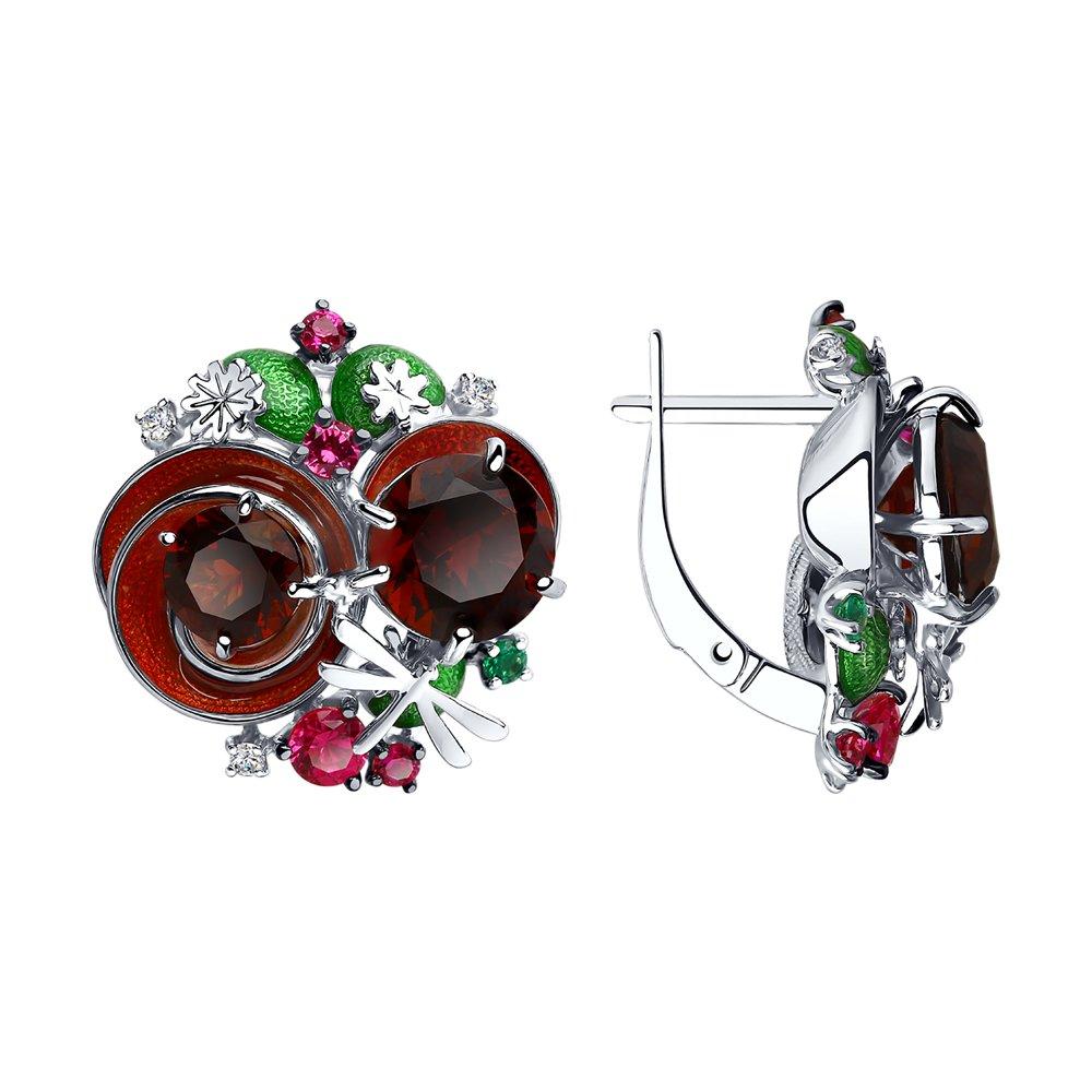 Серьги SOKOLOV из серебра с эмалью и красными ситаллами и фианитами фото