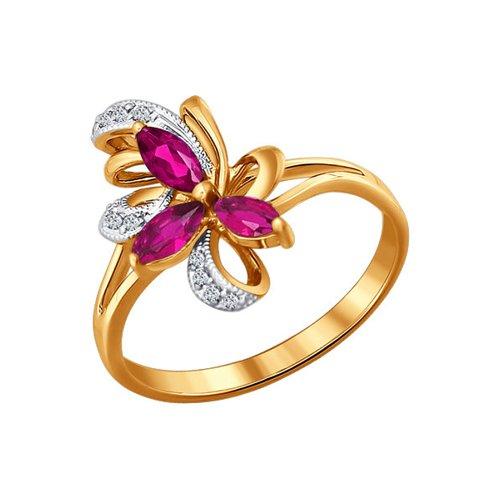 Кольцо с цветком из бриллиантов и рубинов