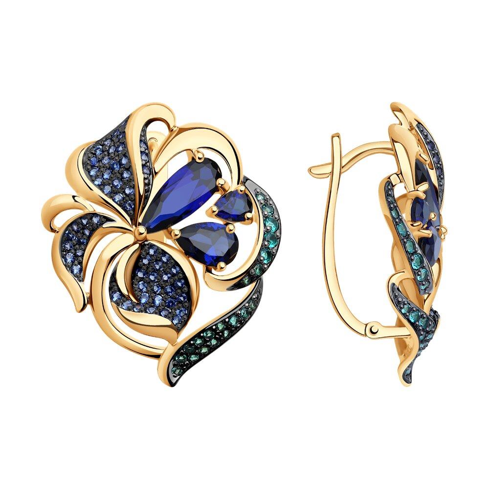 Серьги SOKOLOV из золота с корундами сапфировыми и зелеными и синими фианитами серьги sokolov из золота с синими корундами и фианитами