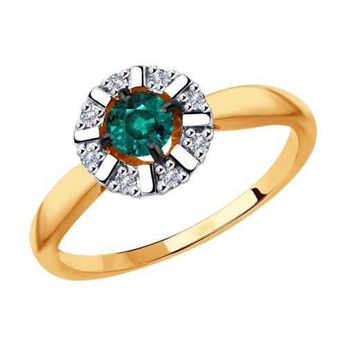 Кольцо из золота с бриллиантами и гидротермальным изумрудом (синт.) (6017019) - фото