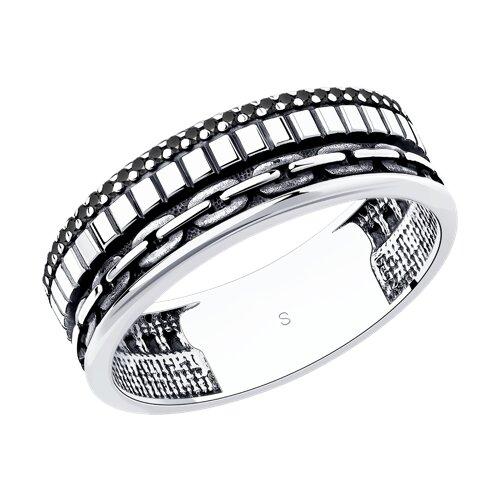 Кольцо из чернёного серебра с фианитами (95010121) - фото