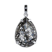 Подвеска из серебра с чёрным кристаллом Swarovski и фианитами