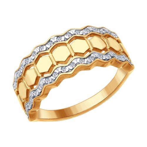 Кольцо из золочёного серебра с фианитами (93010698) - фото