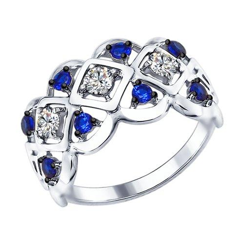 Кольцо из серебра с бесцветными и синими фианитами (94012318) - фото