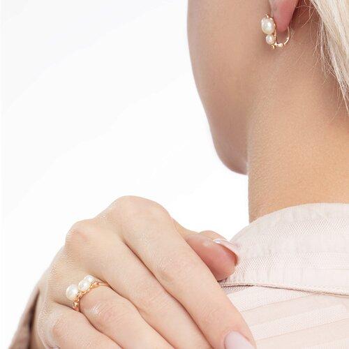 Кольцо из золота с жемчугом и фианитами (791070) - фото №3