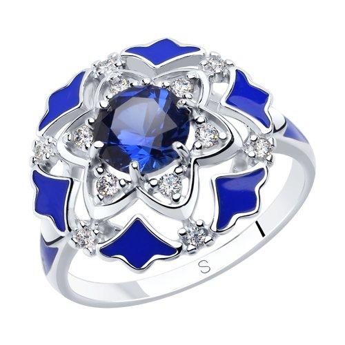 Кольцо из серебра с эмалью и синими корундами и фианитами (92011771) - фото
