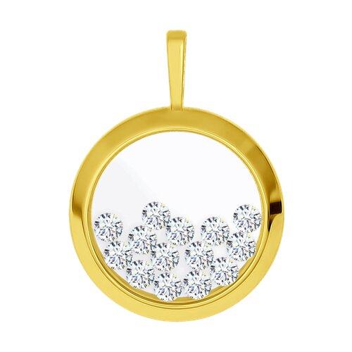 Подвеска из желтого золота с минеральным стеклом и фианитами 034926-2 SOKOLOV фото