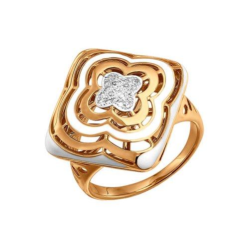 Золотое кольцо с белой эмалью и бриллиантами SOKOLOV золотое кольцо с бриллиантом и белой керамикой sokolov