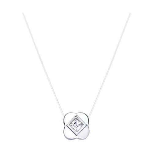 Колье на леске из серебра с фианитом (94070153) - фото