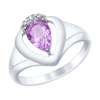 Кольцо из серебра с аметистом и фианитами
