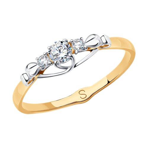 Кольцо из золота с фианитами (017885) - фото