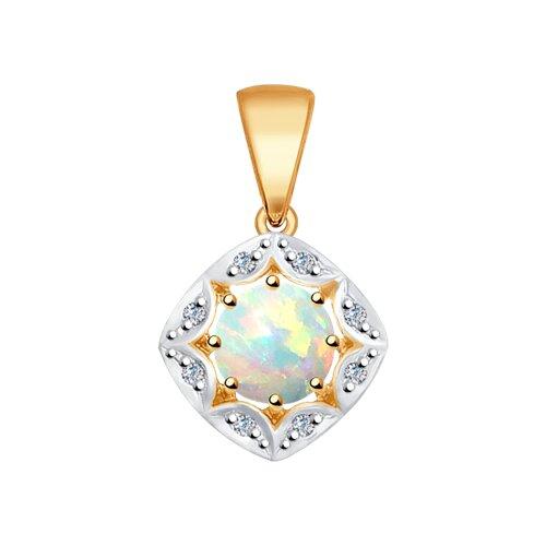 Подвеска из золота с бриллиантами и опалом (6034023) - фото