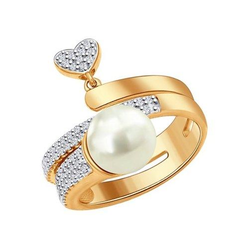 Кольцо из золочёного серебра с  жемчугом и фианитами