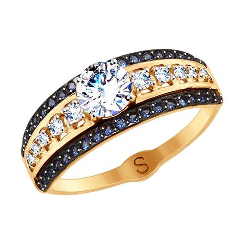 Кольцо из золота с фианитами (017821) - фото