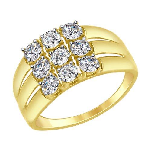Кольцо из желтого золота со Swarovski Zirconia (81010289-2) - фото