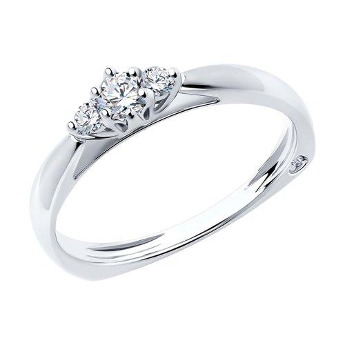 Кольцо из белого золота с бриллиантами (1011701) - фото