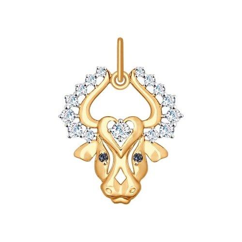 Золотая подвеска «Знак зодиака Телец»