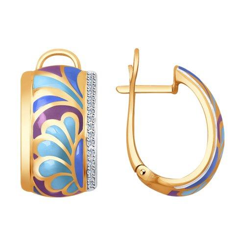 Серьги из золота с эмалью и бриллиантами