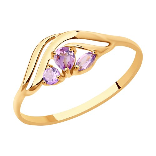 Кольцо из золота с аметистами (714618) - фото