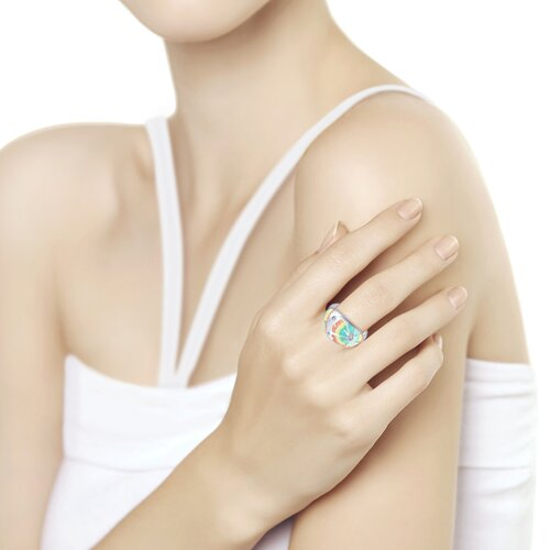 Кольцо из серебра с эмалью и фианитами (94012551) - фото №2
